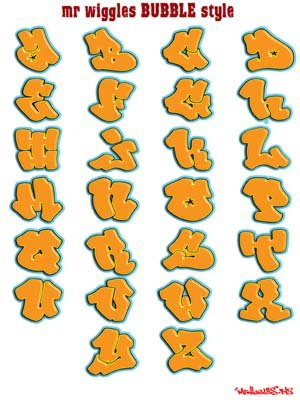 graffiti alphabet styles 3d. Graffiti Alphabet Bubble with