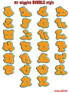 Graffiti Alphabet Bubble with Orange Color Style