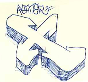 Graffiti Alphabet Sketches Letter X