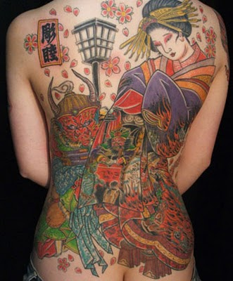 Back Japanese Geisha Tattoo