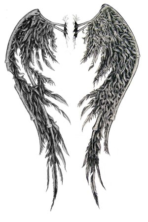 Full Back Tattoos Wings. Angle Wings Tattoo Design
