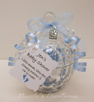 crystal candy jar filled with baby blue silver hershey 39 s kisses