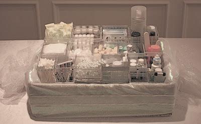 Ally in wedding wonderland bathroom baskets for guests for Wedding reception bathroom ideas