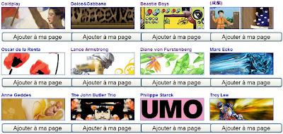 themes artistes dans igoogle