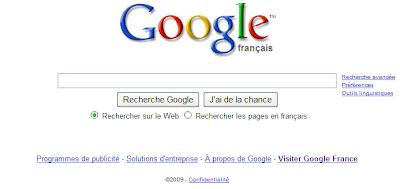 La page d'accueil de Google ancienne version