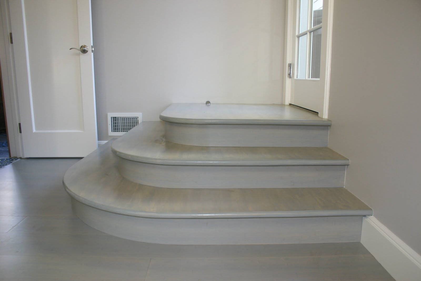 Our Customer In Land Park Had A Clear Vision Of What She Wanted In Her  Work Out Room. We Custom Made These Curved Stair Nosings To Match The  Engineered ...