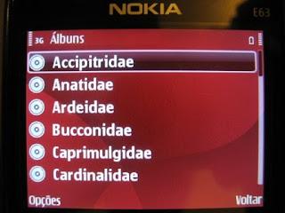 Tela da lista das famílias no Nokia E63