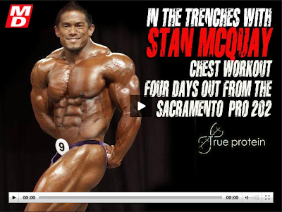 Stan McQuay bodybuilder training workout chest before Sacramento Pro 2010 bodybuilding contest