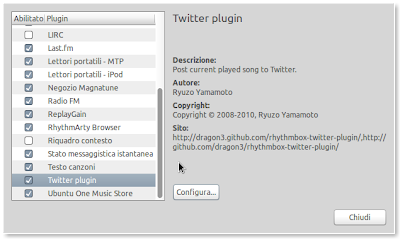 Twitter-Plugin per Rhythmbox