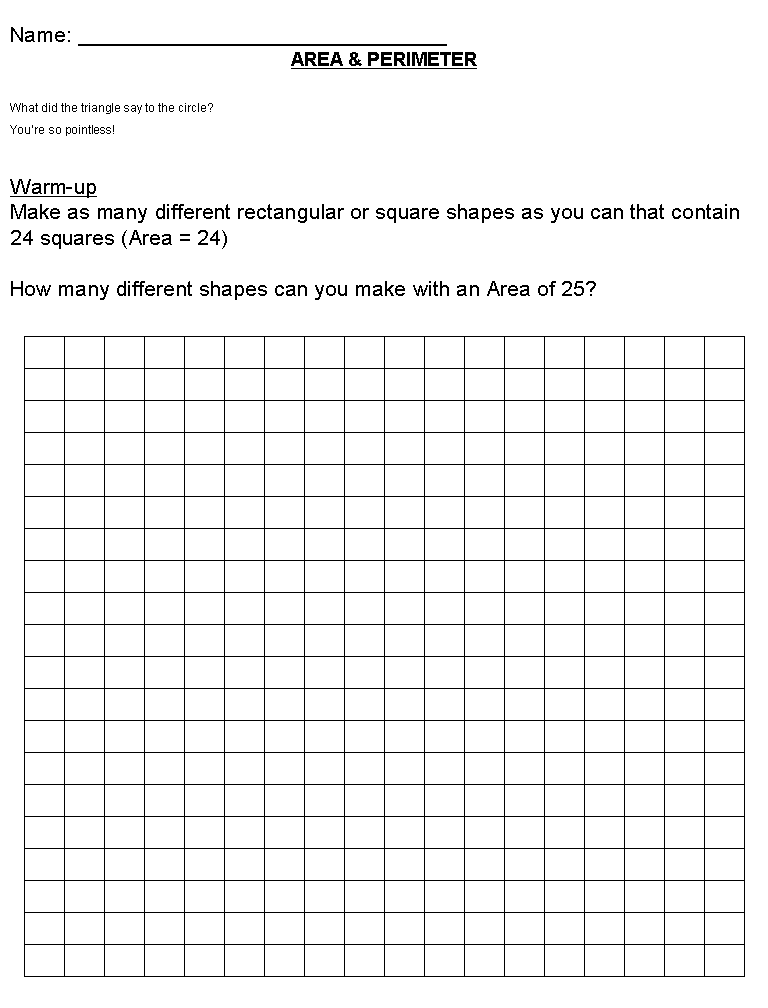 Math Worksheets Area And Perimeter math worksheets math – Perimeter Area Worksheets