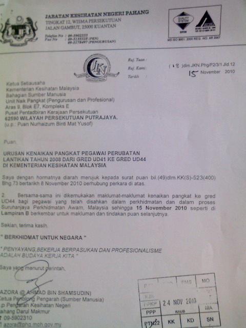 Surat urusan Kenaikan 44 yang JKN Pahang anta ke KKM