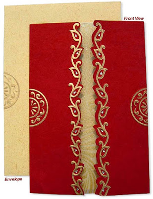 This red colored wedding card says nothing but still reveals all secrets of