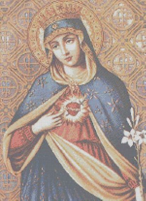 sacred heart of mary cross stitch