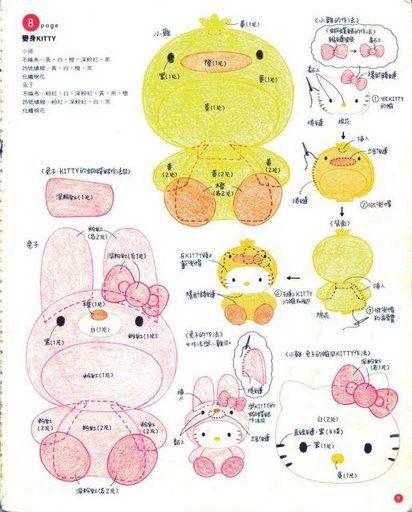 Blog de Goanna: Molde de Hello Kitty y Melody en fieltro