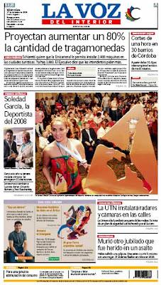 Tapa del diario La Voz del Interior