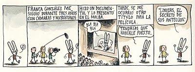 Tira Liniers en La Nación contando cosas de la Peli