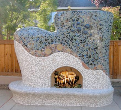Mosaic Tile Outdoor Fireplace