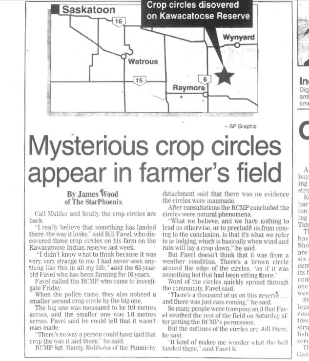 L'affaire de la ferme Fuhr à Langenburg CANADA (1974) Mysteriouscropcirclearticle