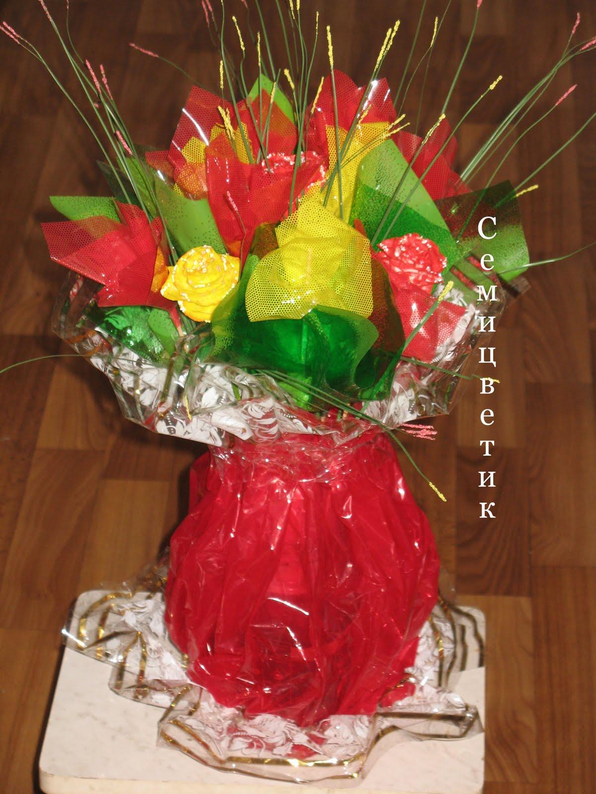 Букет из дачных цветов к 1 сентября своими руками. - Участок и сад 452