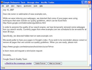 ejemplo de mensaje en la consola de mensajes