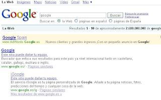 advertencia de seguridad de google, fallo del dia sabado 31 de enero 2009