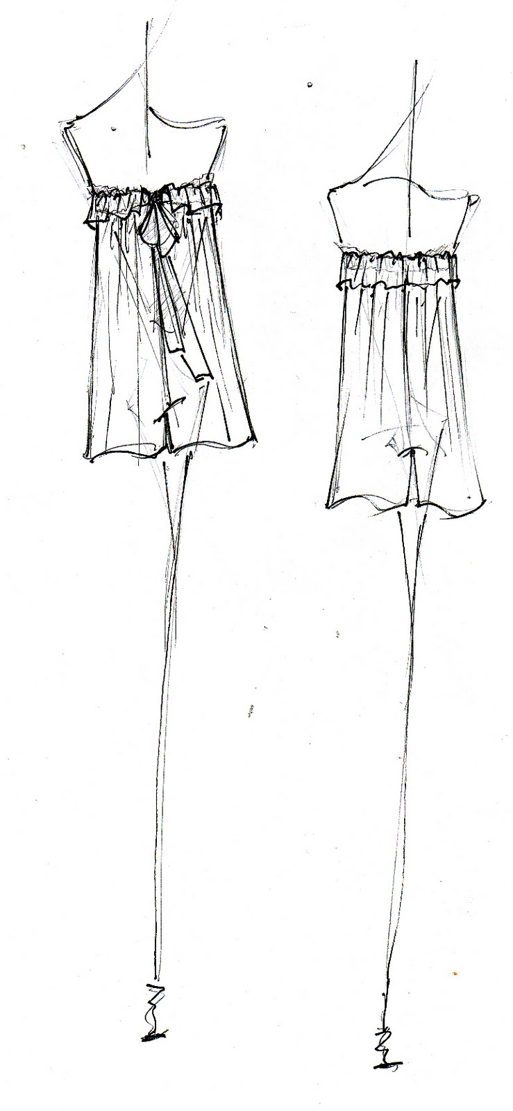 Hi-Lo Volume Cami Dress Sketch