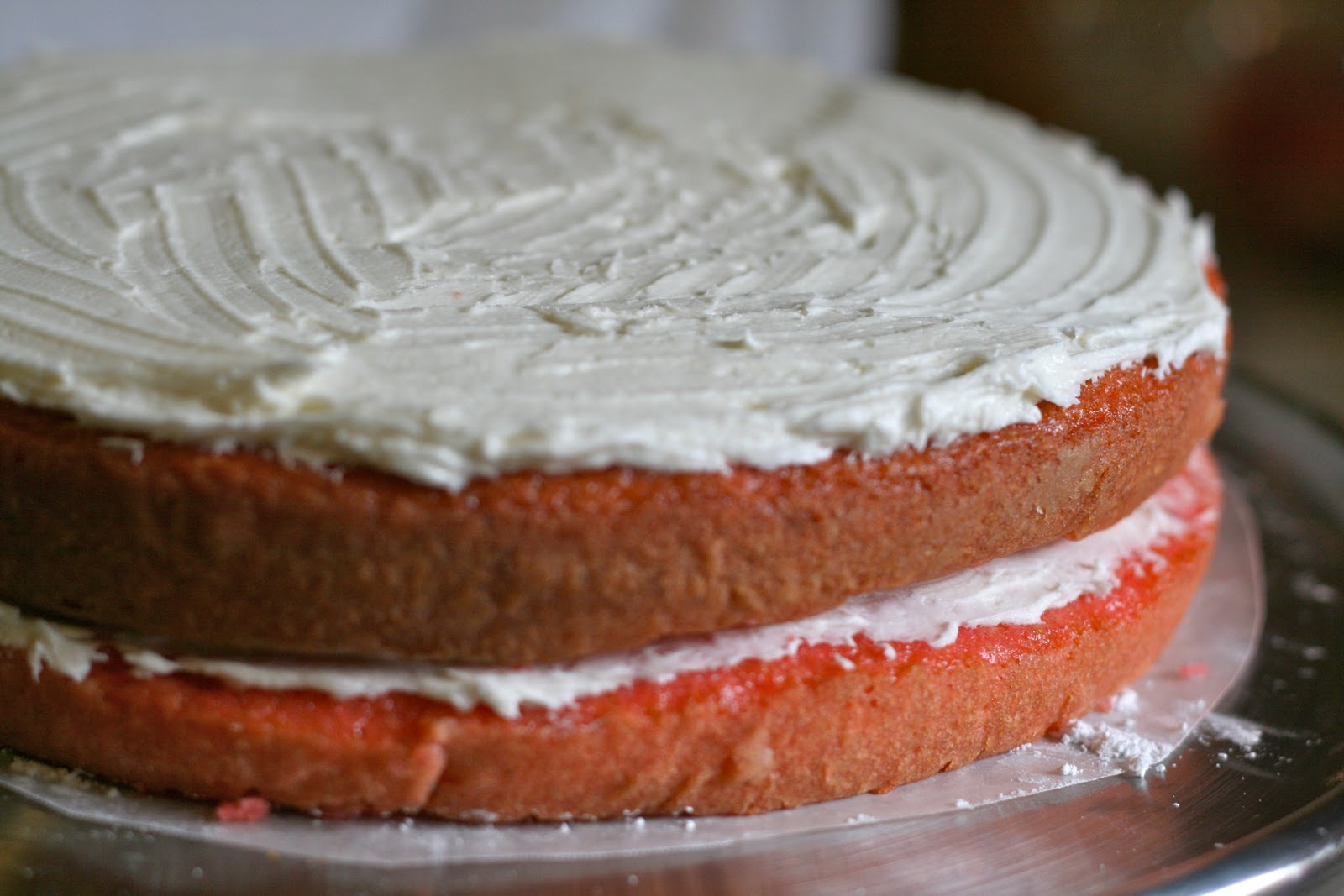 Putting Fresh Strawberries Between Cake Layers