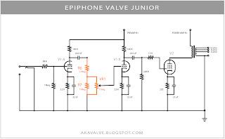 Epiphone Valve Junior Stock Schematic R6 R7 VR1