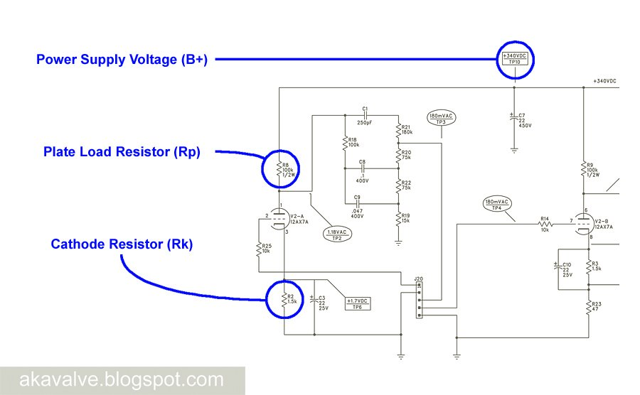 Fender Champion 600 preamp schematic B+ Plate Resistor and Cathode resistor indentified