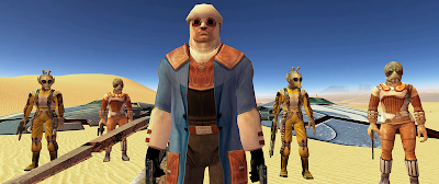 Calo Nord confronts Revan in the Eastern Dune Sea on Tatooine.