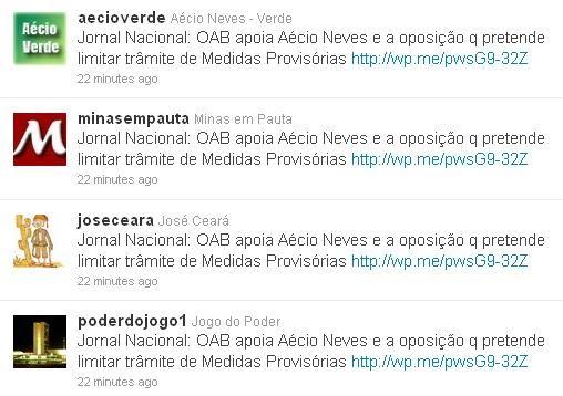 Spam puxa-saco do senador Aecio neves PSDB MG Robô no Twitter