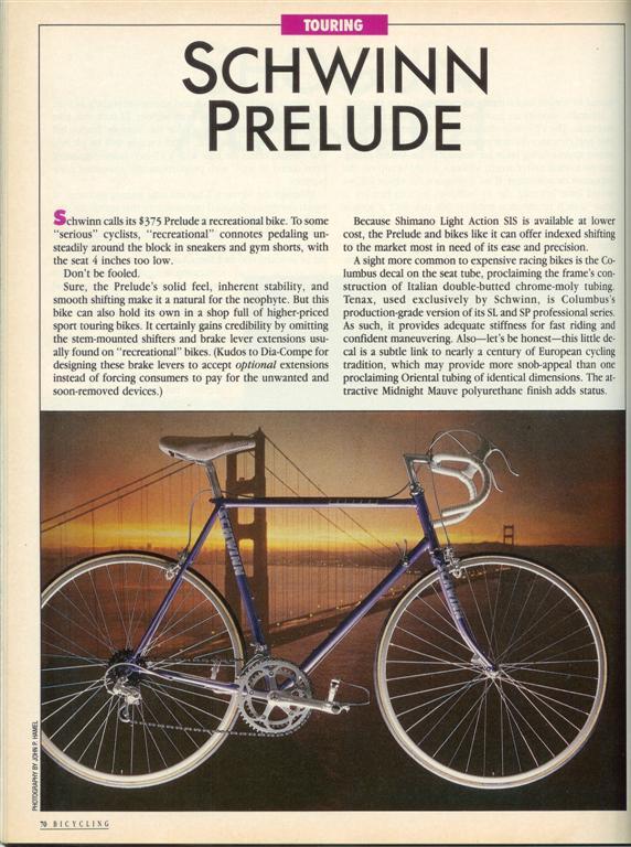 Schwinn Prelude 1987 Schwinn+Prelude+Bicycling+87+%28Large%29