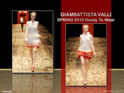 Giambattista Valli Spring 2010 Ready To Wear orange and white feather dress
