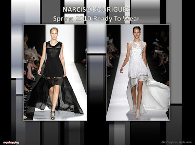 Narciso Rodriguez Spring 2010 Ready To Wear black gown and white short-front-long-back gown