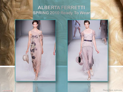 Alberta Ferretti Spring 2010 Ready To Wear chiffon embroidered long dress