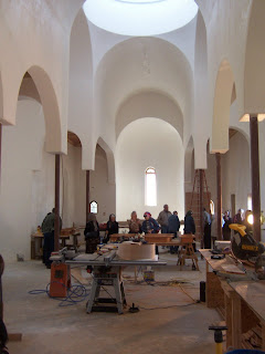 The interior view from what will soon be the altar -- looking back toward the narthex.