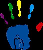 Logo de la Semana de rehabilitación en la UCR: Una palma abierta con la silueta de un adulto y un niño adentro
