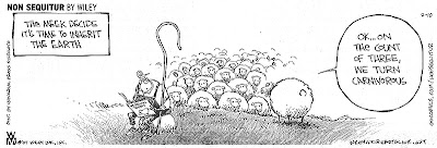 Cartoon by Wiley Miller. Caption: The meek decide it's time to inherit the earth. Picture: A shepherd reads a magazine while behind his back one sheep stands in front of a big mob and says, 'OK... on the count of three, we turn carnivorous.'