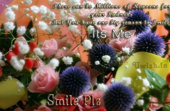 There can be Millions of Reasons of your sadness. But you have one big reason to smile. Its Me. Smile Please. Smile for me Plz.  Smile E greeting cards and wishes to wish your friends, love and family and colleagues.