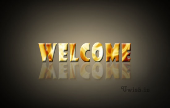 Welcome e greeting cards and wishes with yellow ornamental texts and black background.