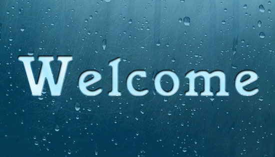 Welcome e greetings cards and wishes with rain drops in window.