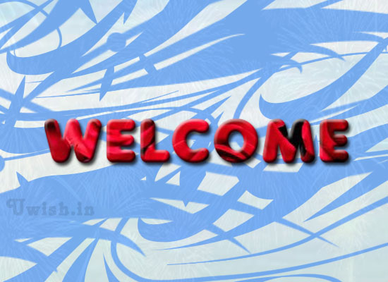 Welcome e greeting cards and wishes with Red war texts and blue background.