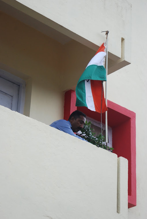 Hoisting National Flag at my residential place in Panjim on Aug. 15, 2009.