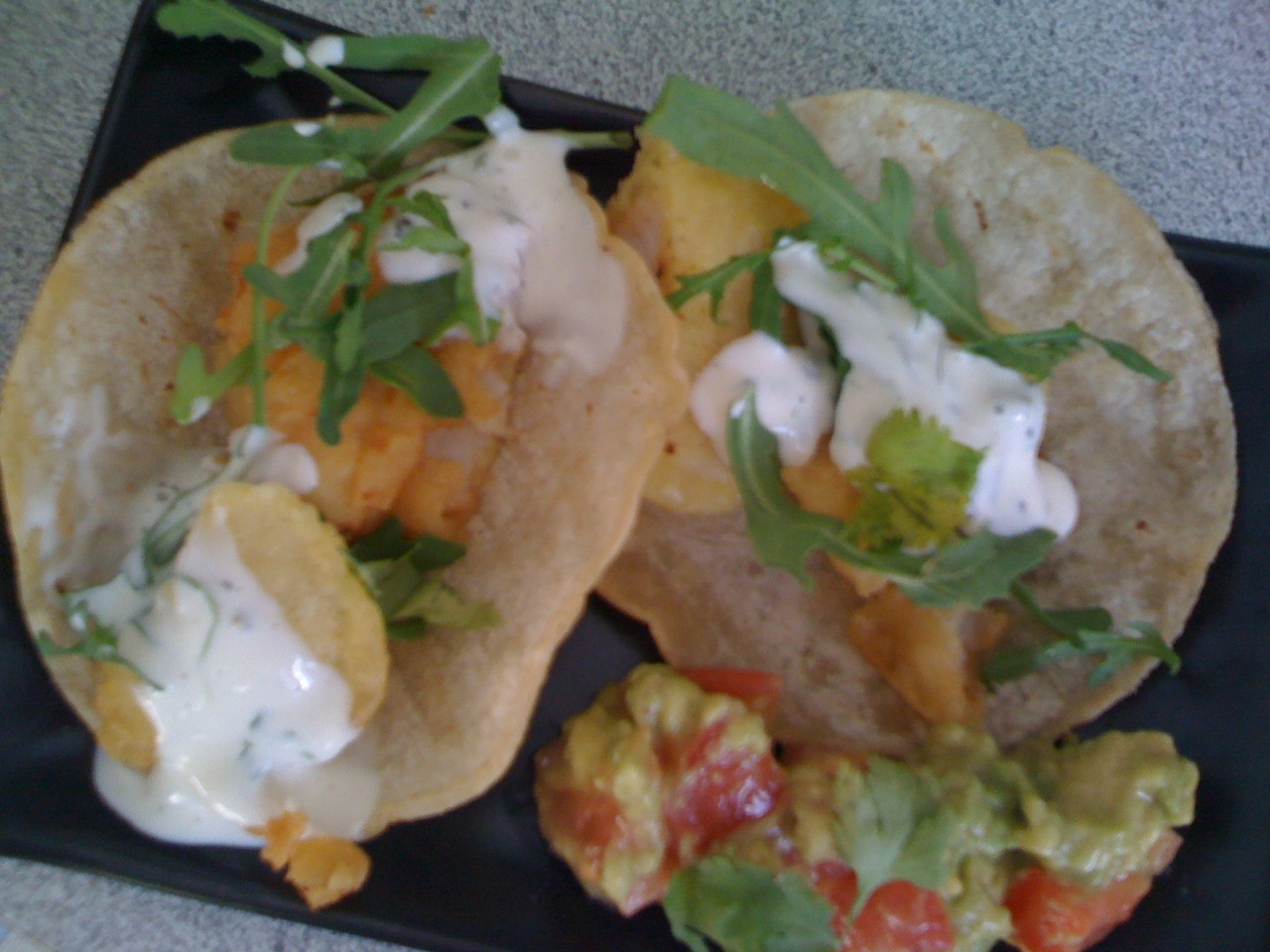Collective culinary creations baja fish tacos with for Fish taco recipe sauce