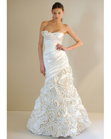 Spring wedding dresses 2011 white strapless with fully roses