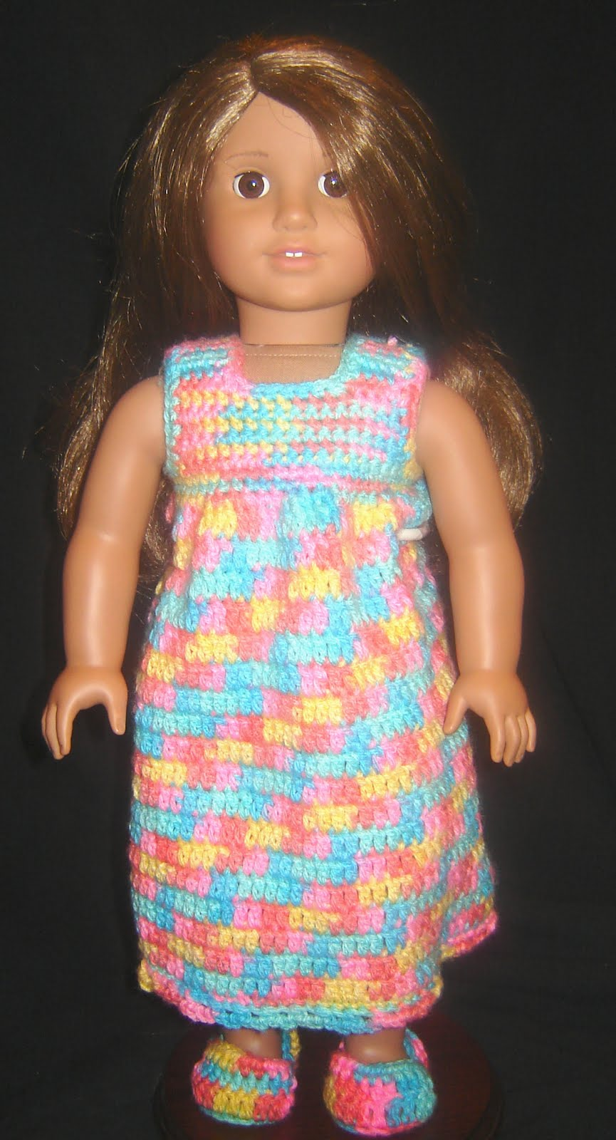 Bizzy crochet nightie robe amp slippers 18 quot doll clothes pattern