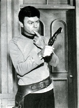DeForest Kelley in a joke photo from Star Trek