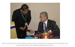 السيد فيجاي اسوران يلتقي برئيس وزراء ماليزيا