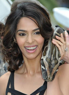 Mallika Sherawat plays with snake to promote Hisss at Cannes