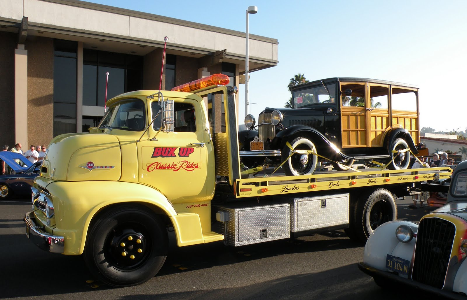 For a similar 1950 s ford hauler transporter but it s a crew cab http justacarguy blogspot com 2010 03 king cab 1950s coe ford hauler from html